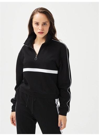 Xint XINT Pamuklu Rahat Kesim Fermuarlı Sweatshirt Siyah